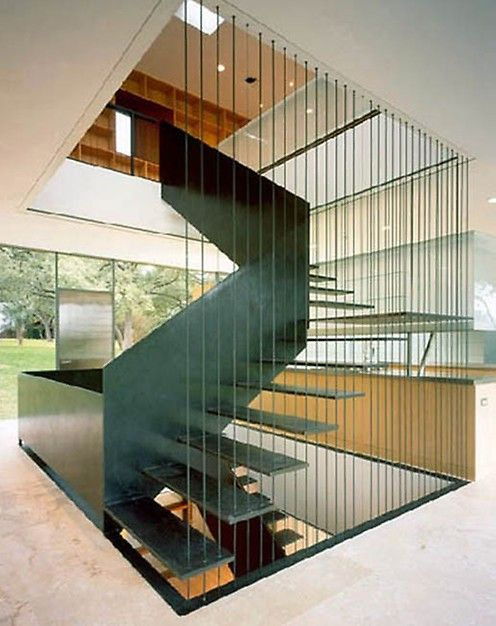 Modern Revisited Split Entry Modern Remodel Exterior: Love This! #Bookcase #Stairs #Foyer #Entry