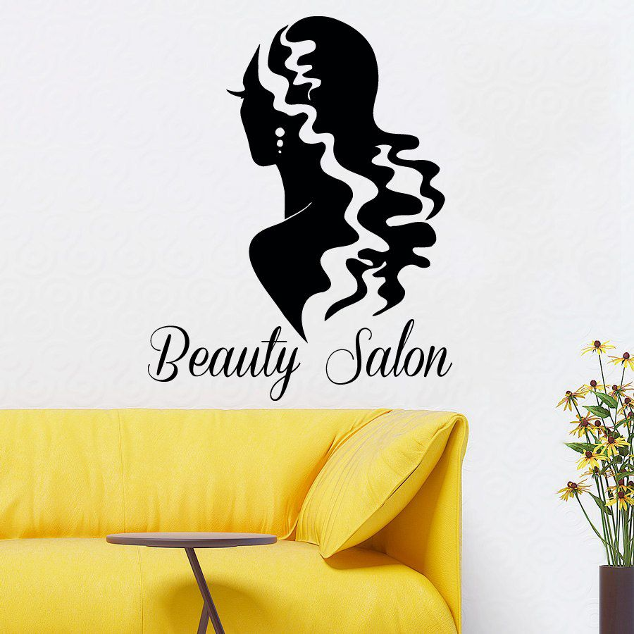 Hair Woman Wall Decals Girl Model Hairdressing Beauty Salon ...