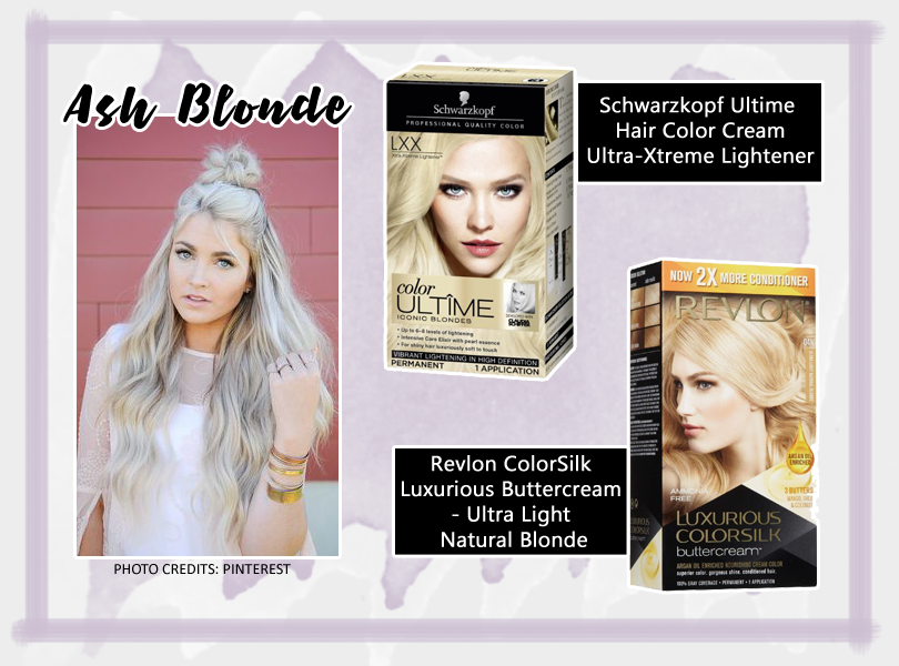 ASH BLONDE www.theteelieblog.com  This hair color is dominating the social media. Because it's gaining tons of likes and reblogs, we can say that granny hair is the most wanted hair hue. If you want to give this edgy and trendy hair color a try, perform the bleaching process we mentioned earlier. Then choose between Schwarzkopf Ultime Hair Color Cream or Revlon ColorSilk Luxurious Buttercream Hair Color. #TeelieBlog