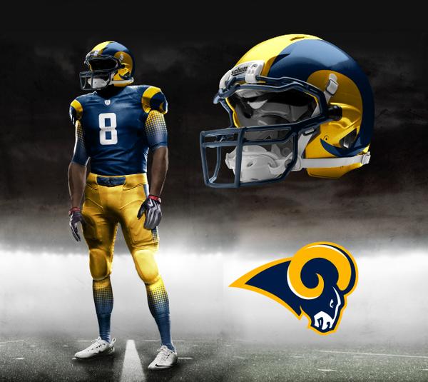 St. Louis Rams Nike NFL Pro Combat Uniform  f5b235521