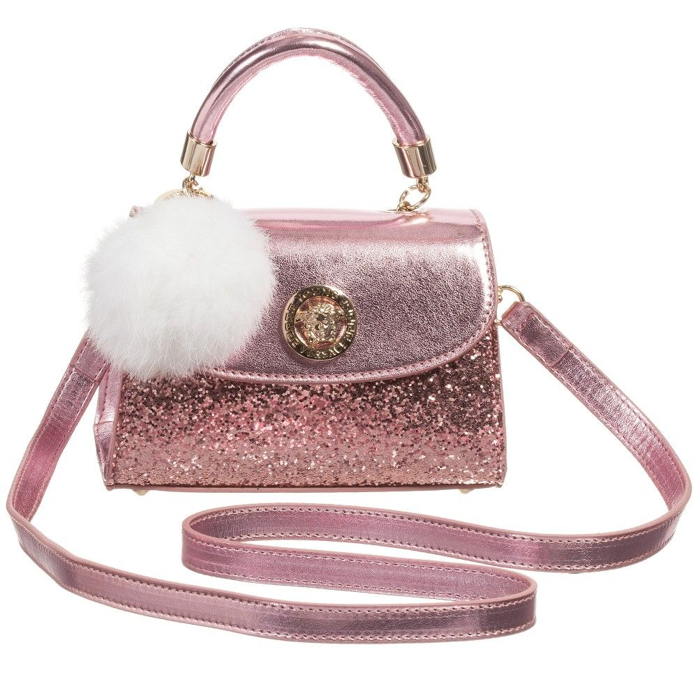 Girls Pink Leather Glitter Bag & Fur Pom-Pom (16cm), Young Versace ...