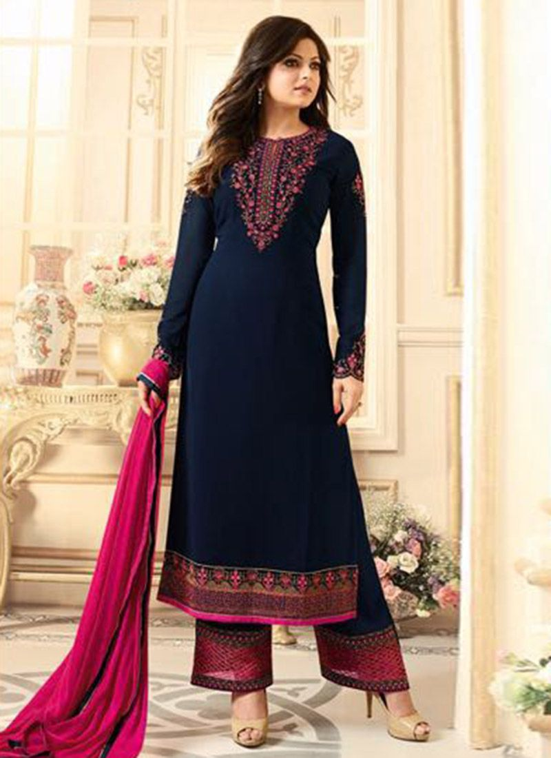bc8f8c592 Buy Drashti Dhami Navy Blue Georgette Palazzo Suit online, SKU Code:  SLSCC1802. This Blue color Party palazzo suit for Women comes with  Embroidered Faux ...