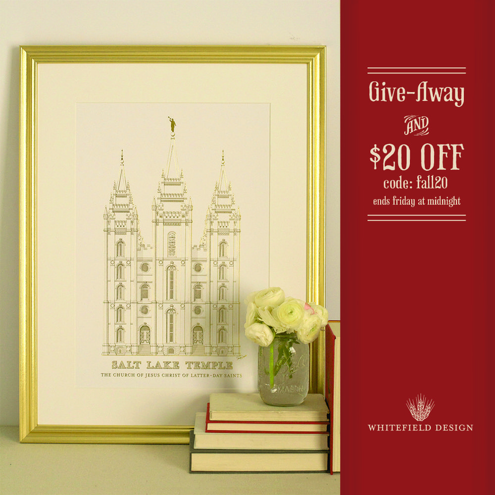 Discount Code for $20 off - fall20 | Salt Lake Temple Prints ...