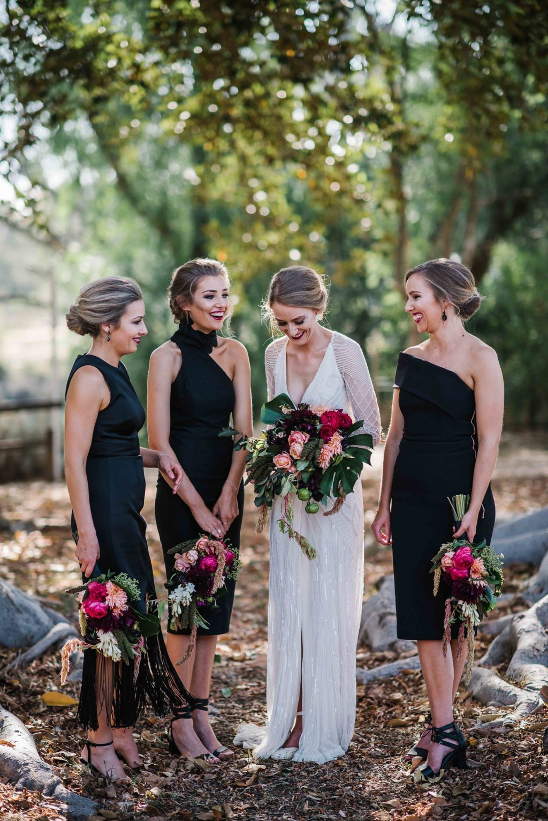 Best of 2017 bridesmaids modern black dressed in mixed styles art deco bride and bridesmaids in black cocktail dresses ombrellifo Image collections
