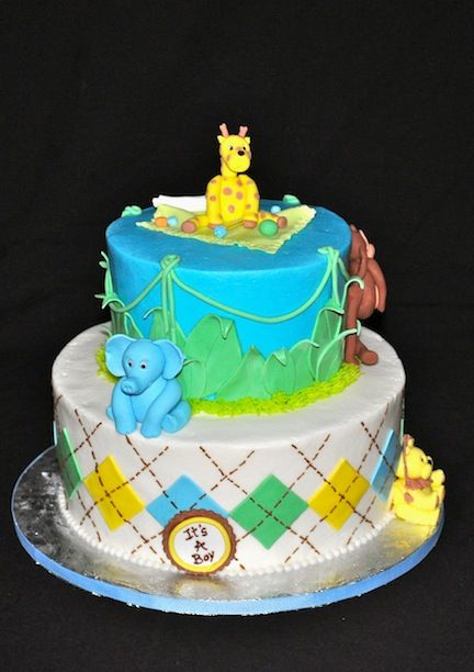 Home Shower Cakes Jungle Theme Baby Shower Cake