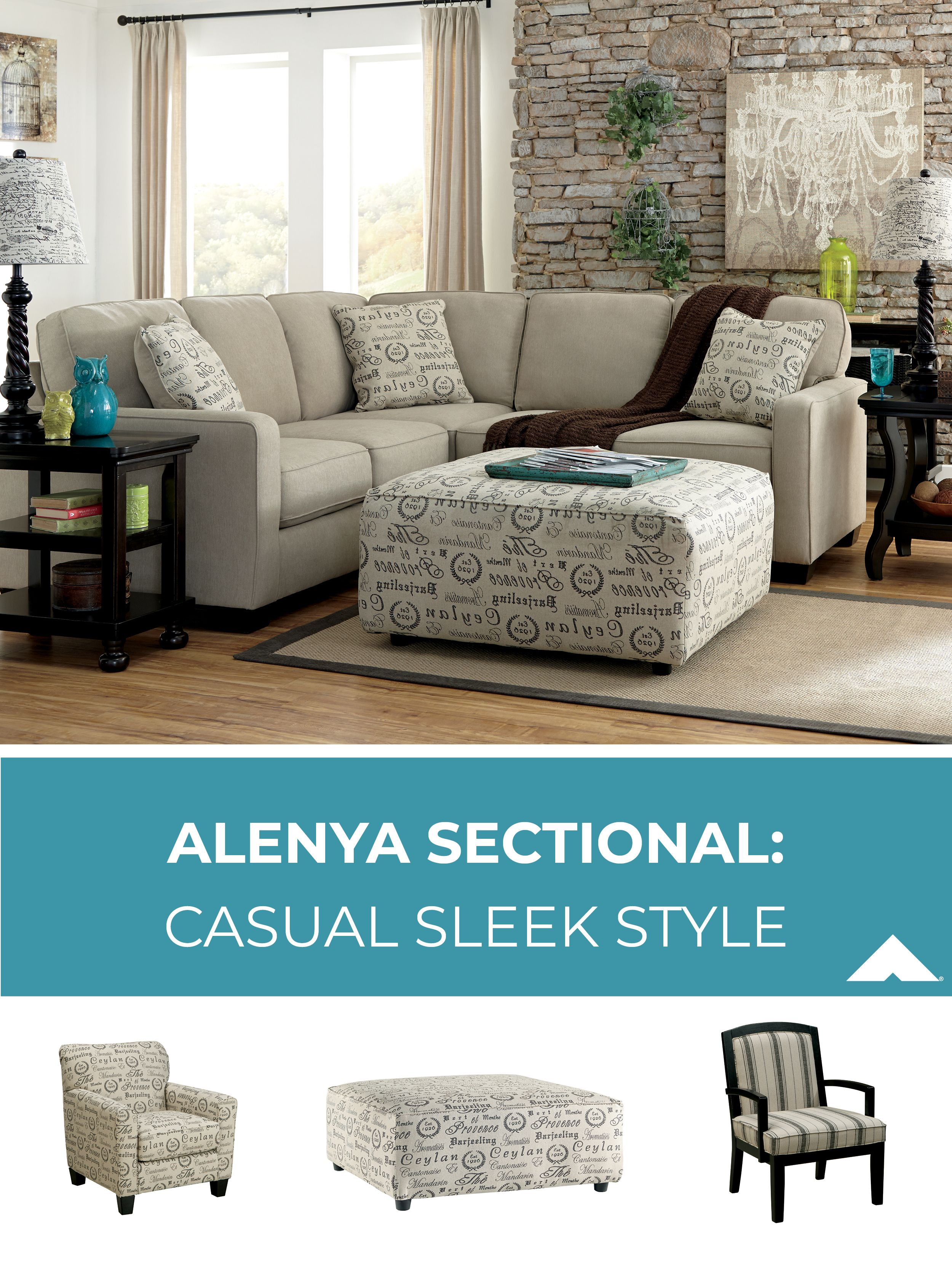 Alenya Quartz Sectional With Accent Chairs And Ottoman By Ashley
