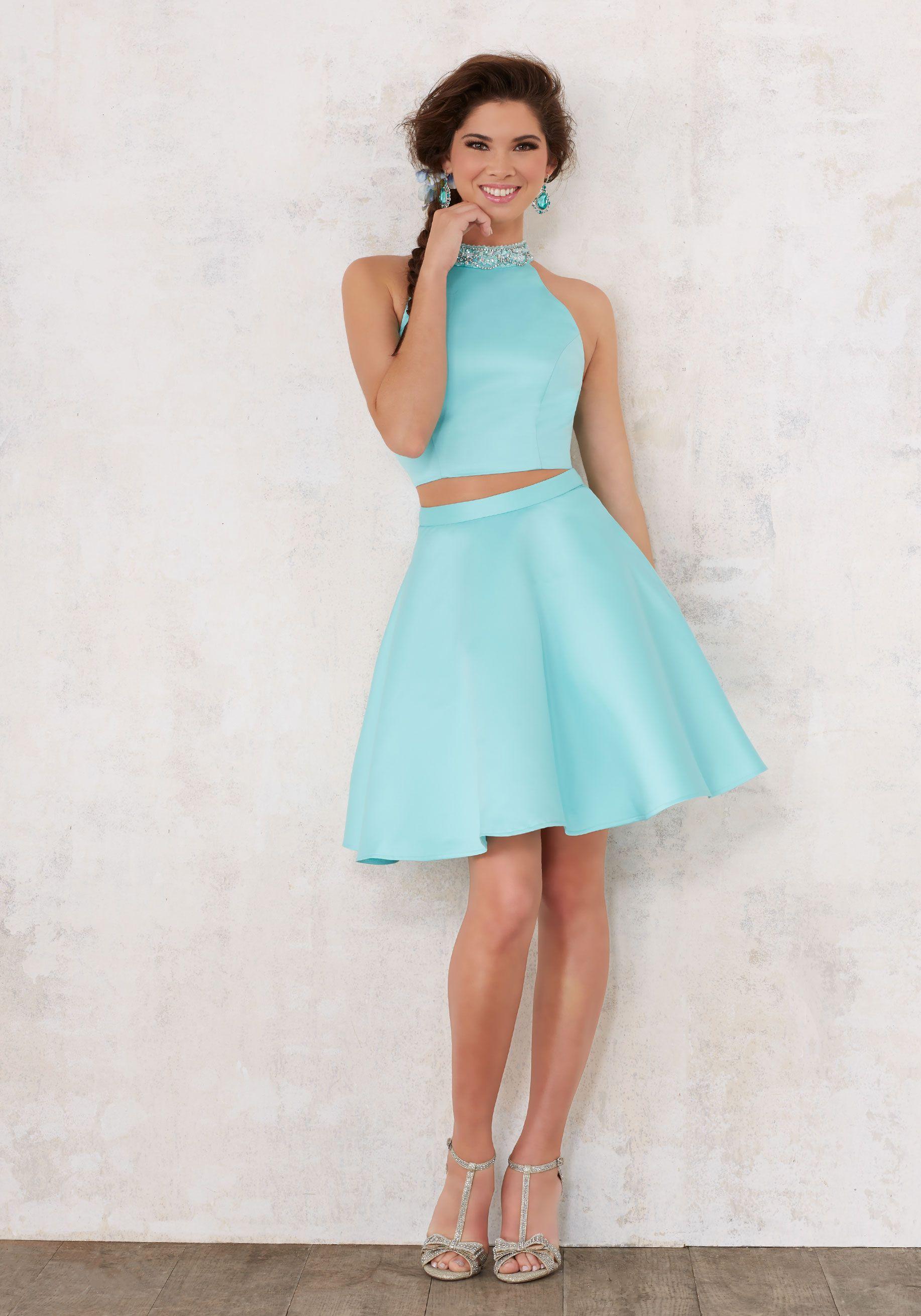 Flirty Two Piece Satin Damas Dress With Beaded High Neckline Open Keyhole Back Colors Available Aqua Coral B Dama Dresses Sweet Sixteen Dresses Piece Dress [ 2620 x 1834 Pixel ]