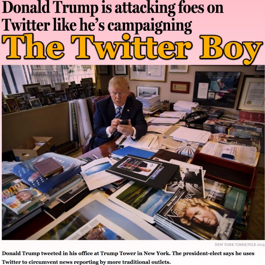 The Twitter Boy [The Boston Globe] http://www.bostonglobe.com/news/politics/2016/11/21/president-elect-trump-skewering-foes-twitter-like-back-campaign-trail/bF2o2fN0FisByz0JACGBLM/story.html ②⓪①⑥ ①① ②② #USPolitics