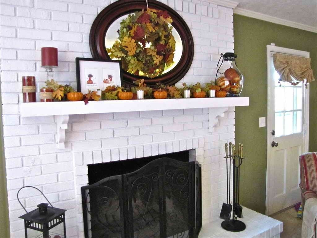 White Brick Fireplace Decorating Ideas Fireplace Decor