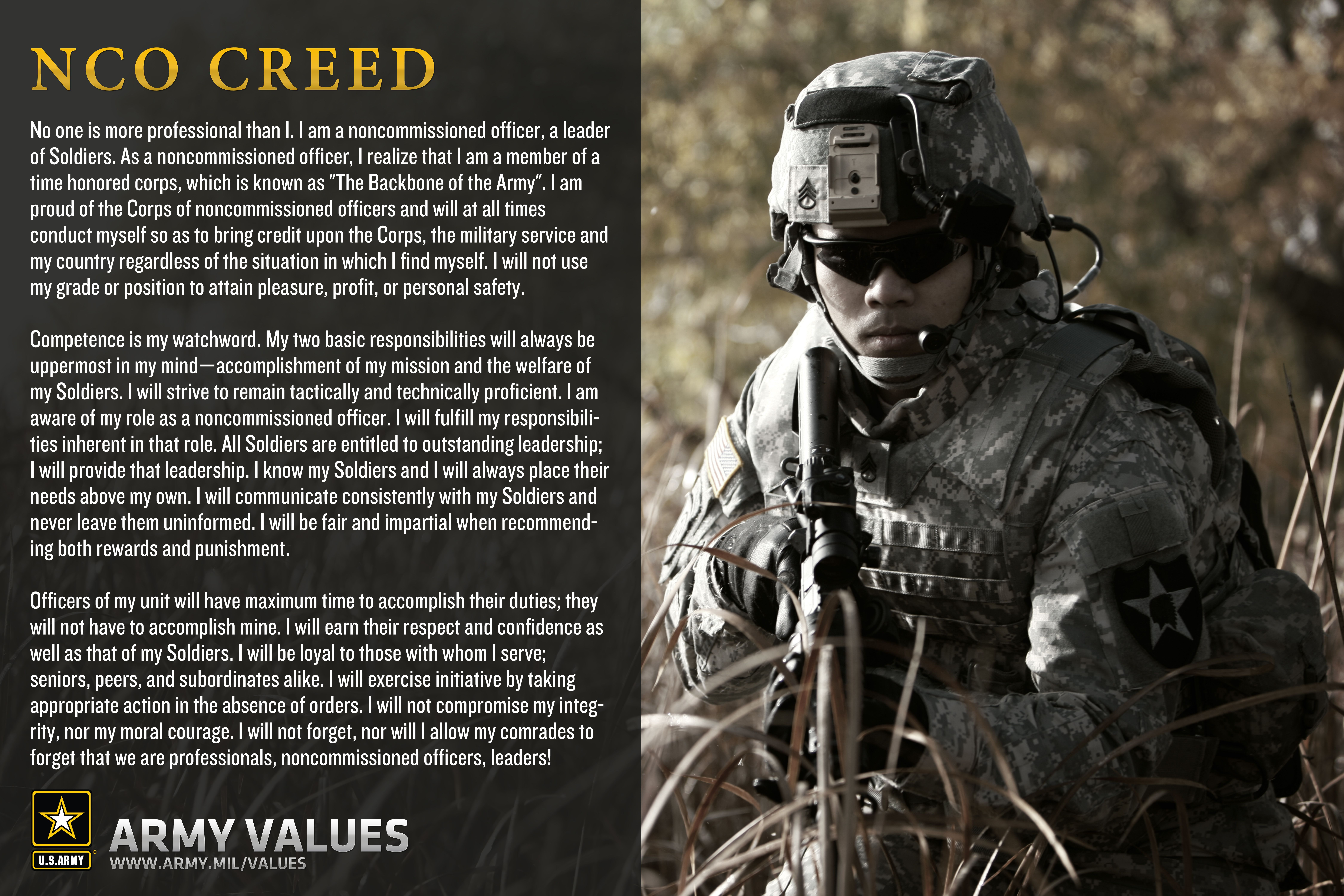army value essay Army values essaysbeing a member of the united states army is a job that must be upheld by the men and woman who chose to answer the call of duty all that you have learned in basic training, advanced individual training, and permint party serves a roll in your every day duty.
