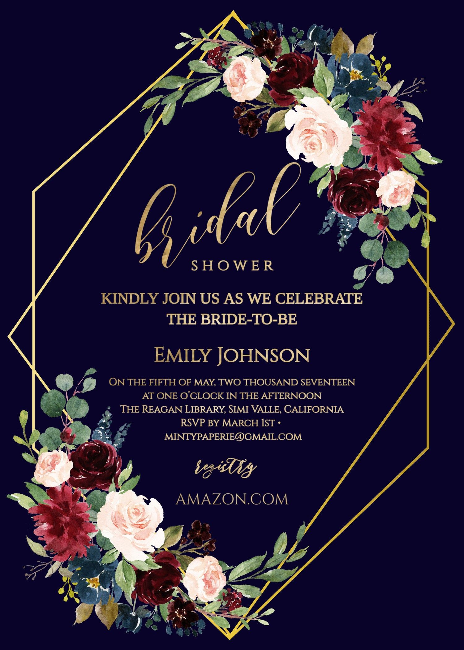 Navy blue Bridal Shower Invitation Template, Floral Bridal