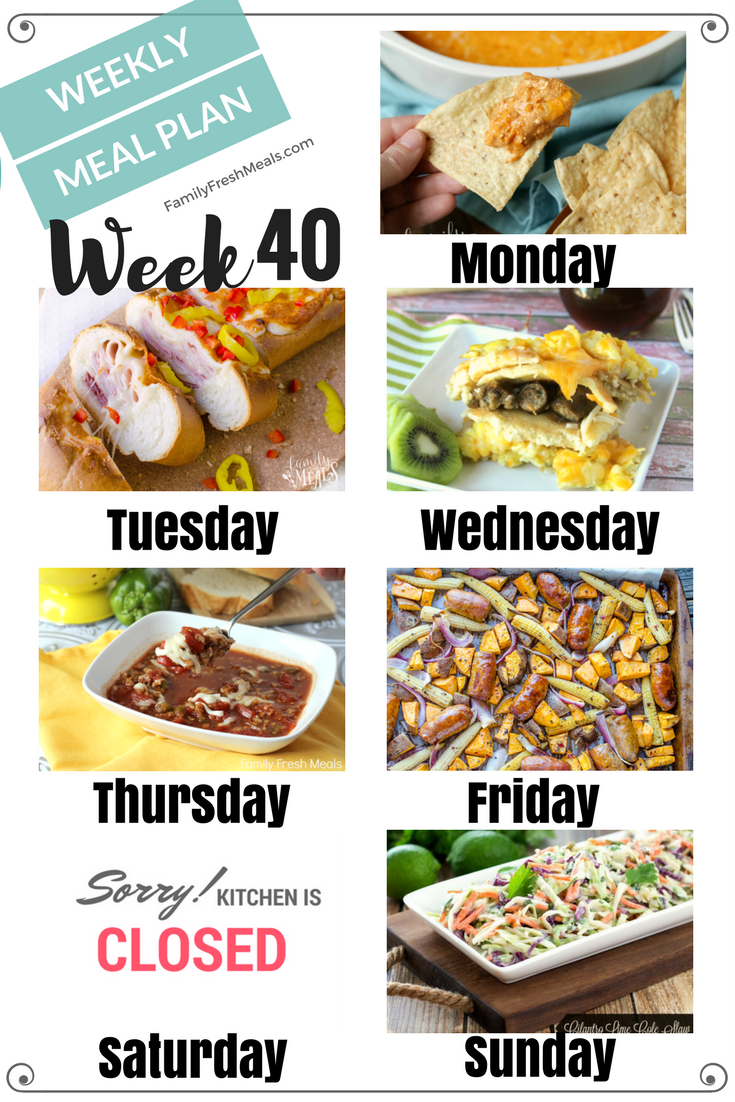 Easy Weekly Meal Plan Week 8   Meals for the week, Family fresh ...