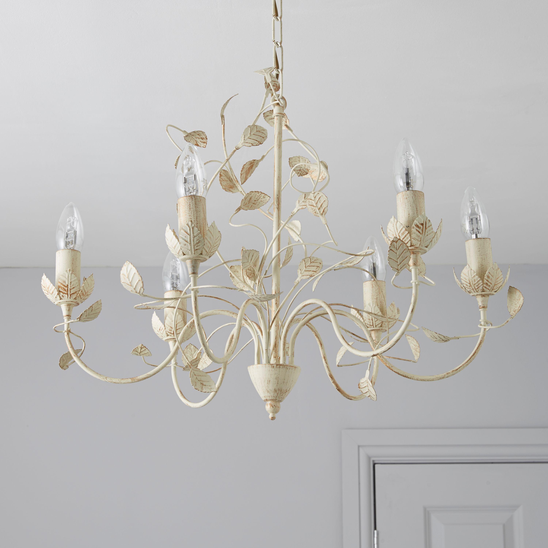 Eva Cream 6 Lamp Pendant Ceiling Light Departments Diy At B Q
