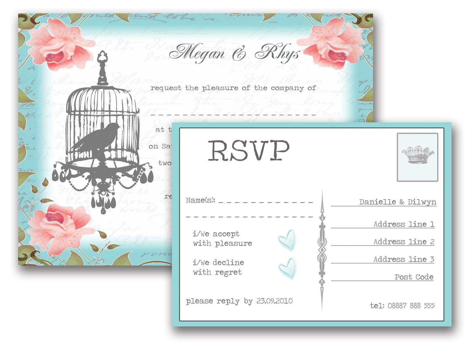 Vintage Birdcage Wedding Invitation & RSVP | Wedding Invitations ...