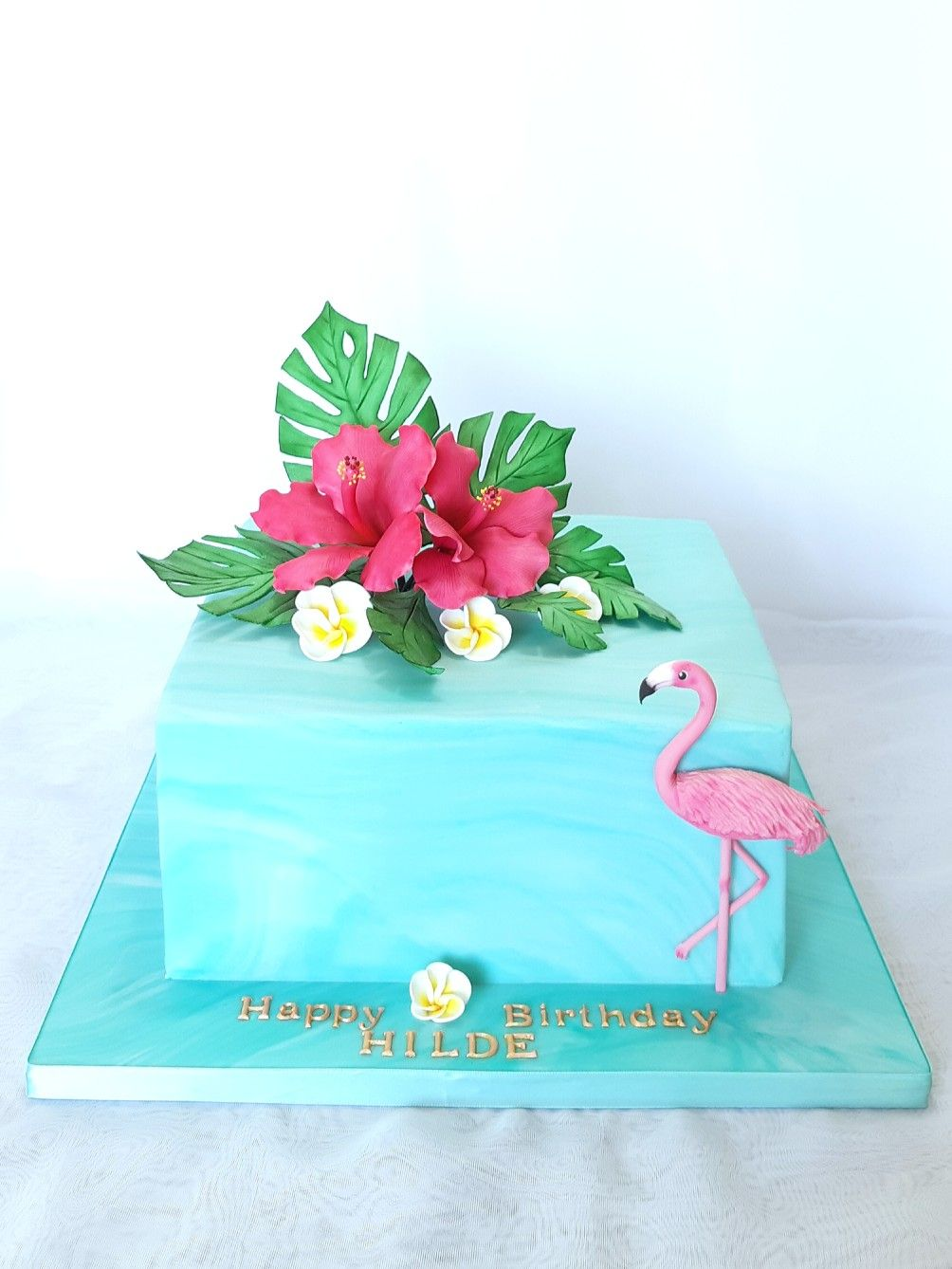Tropical Hibiscus Flower And Flamingo Birthday Cake Hibiscus Cake Flamingo Birthday Party Cake Birthday Party Cake