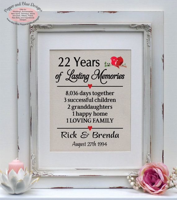 22nd Wedding Anniversary 22 Years Married By PepperandBlueDesigns