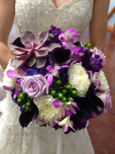 Purple Wedding Bouquet Eggplant Purple Lavender Fuschia