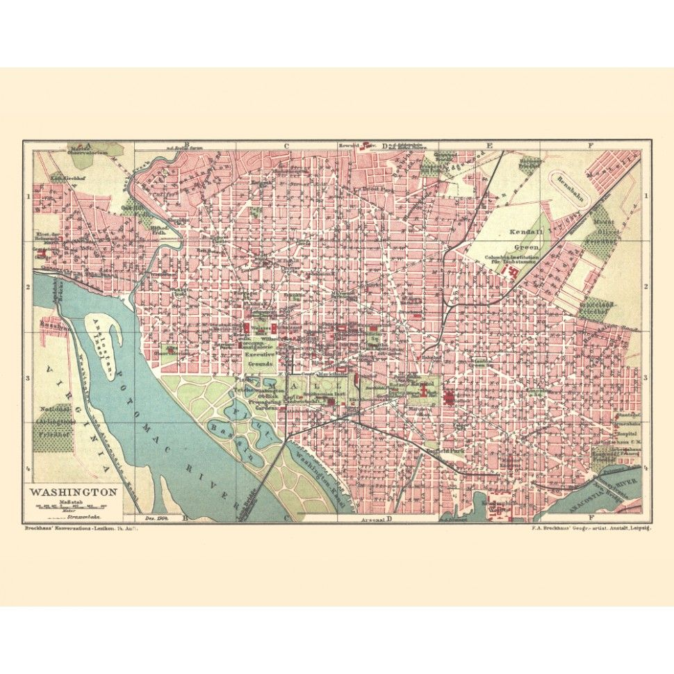 washington dc old city print vinatge map prints for sale