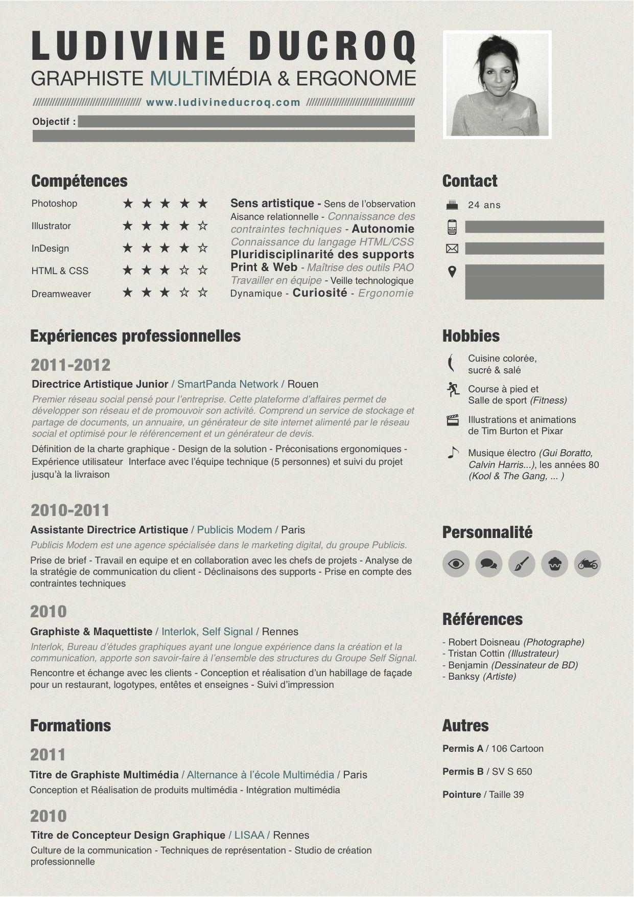 Curriculum Vitae Graphiste Multimedia Webdesigner Ludivine Ducroq Curriculum Vitae Curriculum Resume