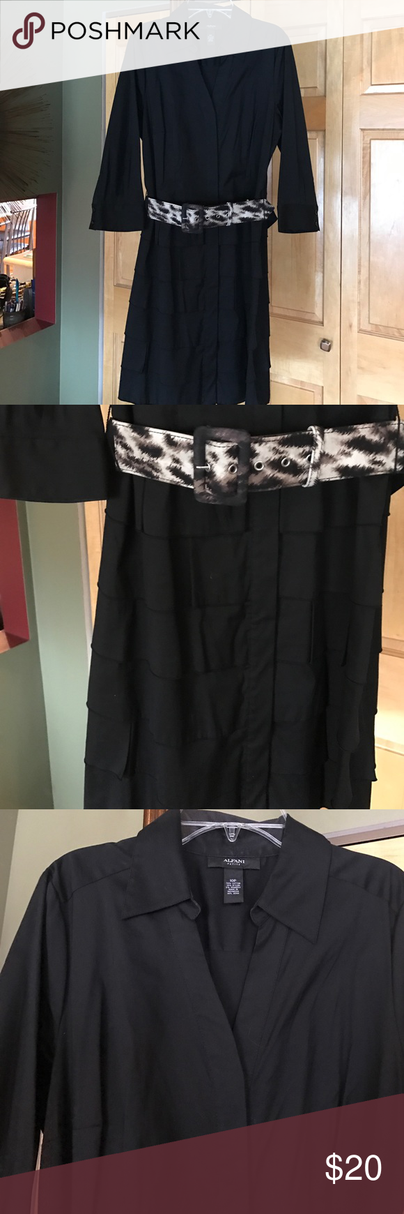 Black V Neck Dress with Belt Really cute black v neck dress with animal print belt. Bottom of the dress is layered ruffles. 3/4 length buttoned sleeves. Material is cotton nylon and spandex. Alfani Dresses