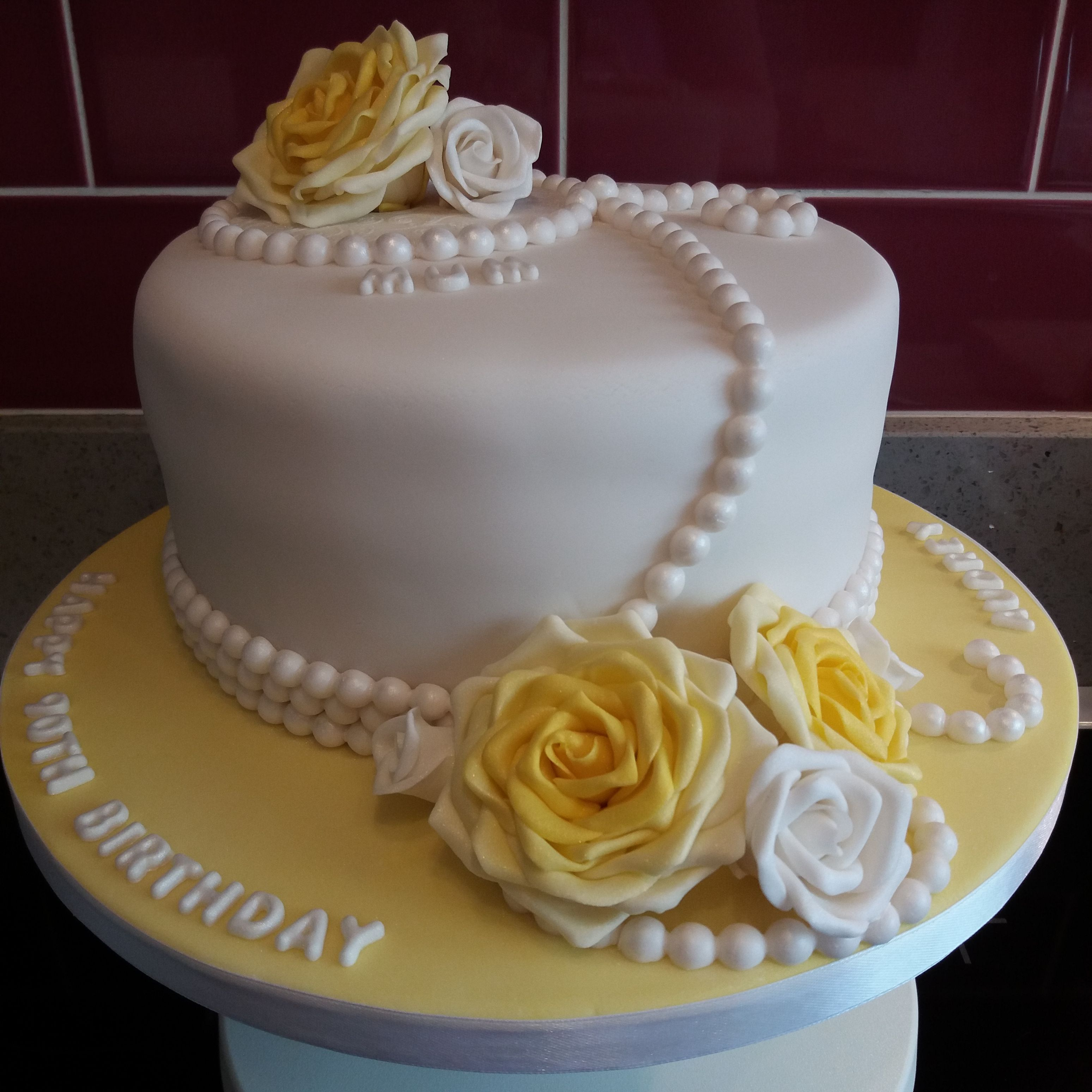 Yellow And White Rose With Pearls Birthday Cake