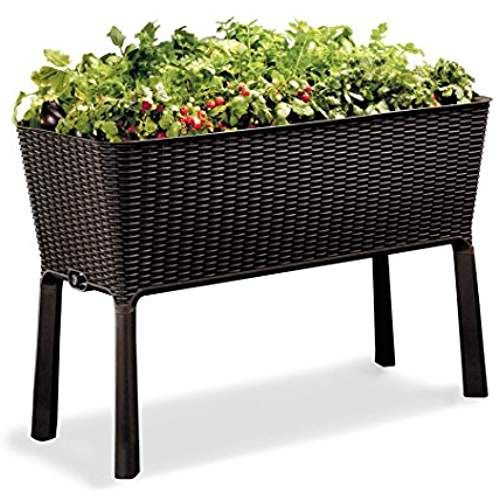 Keter Easy Grow Patio Garden Flower Plant Planter Raised Elevated Garden Bed Brown Raised Garden Beds Garden Beds Elevated Garden Beds