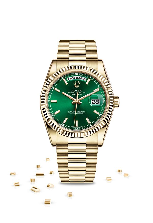 The Rolex Day,Date 36 in 18ct yellow gold with a green dial