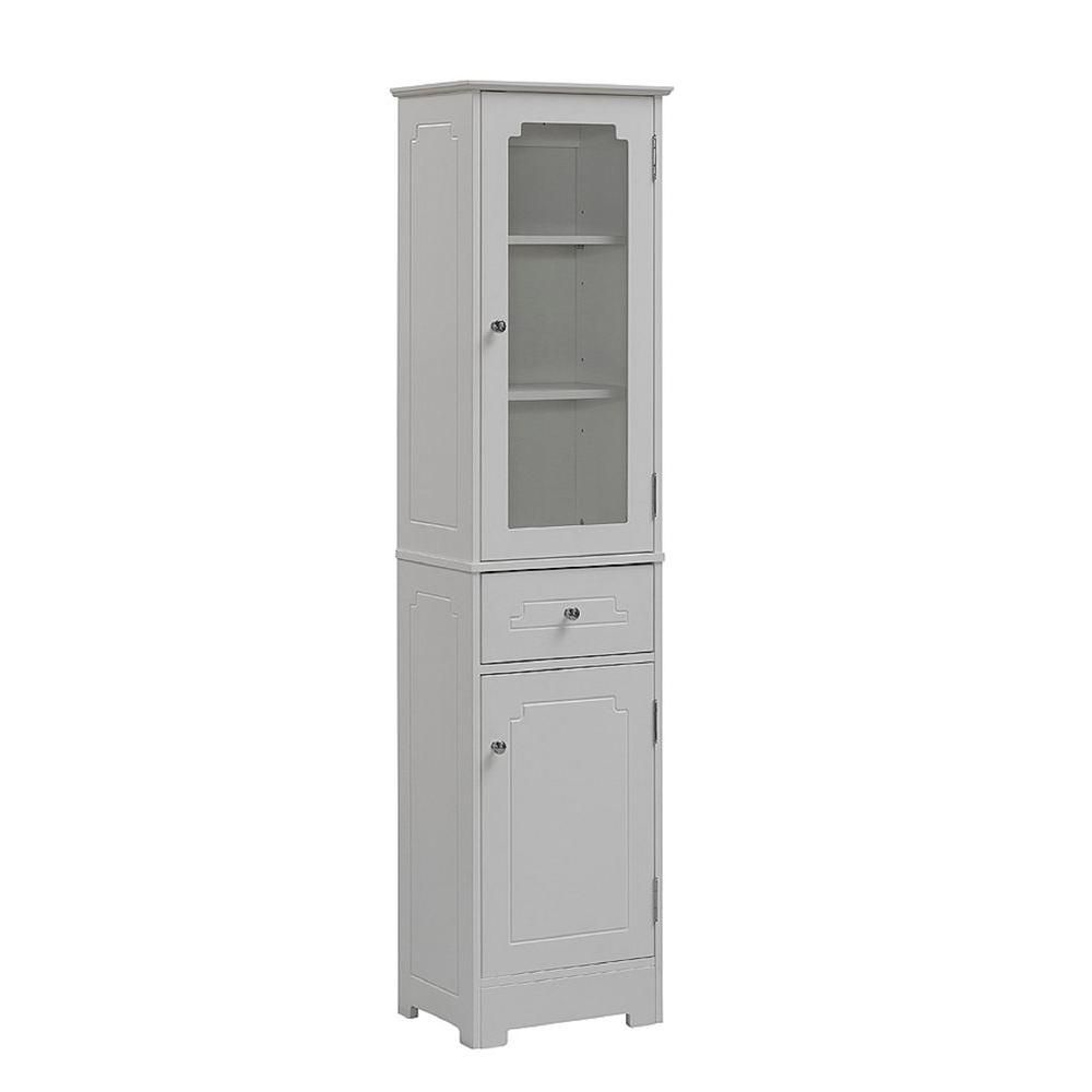 Superieur D Wood Bathroom Linen Storage Tower Cabinet In White