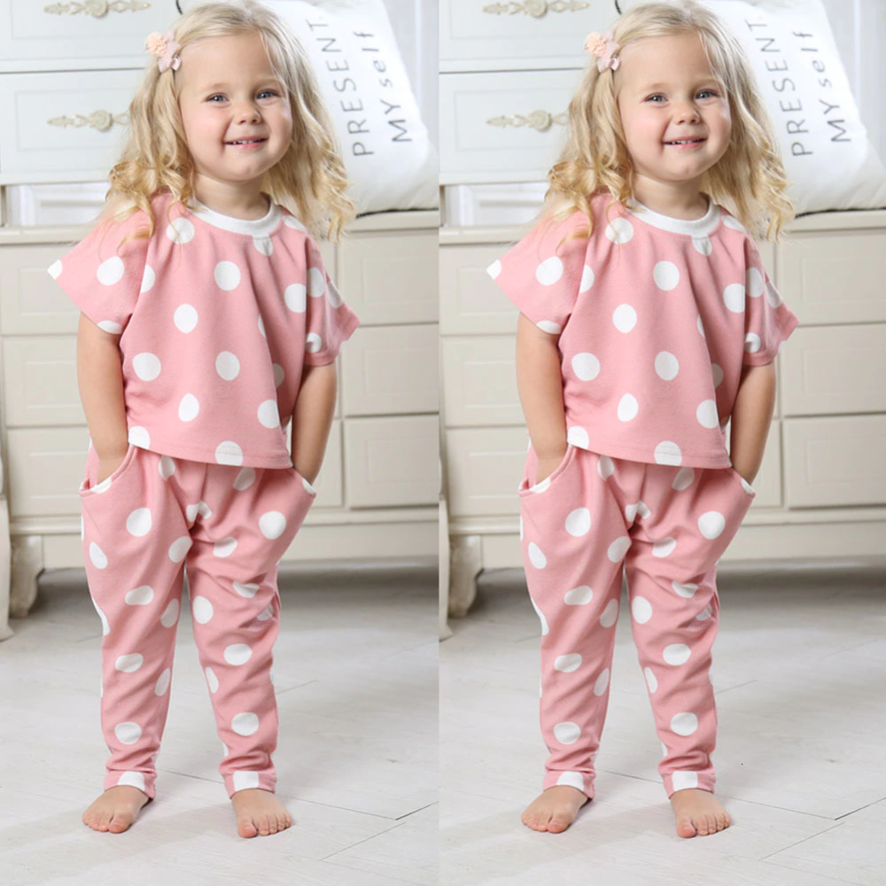 Summer Girls Baby Kids Polka Dot Shirt Tops /& Pink Pants Shorts Outfit 1-6Years