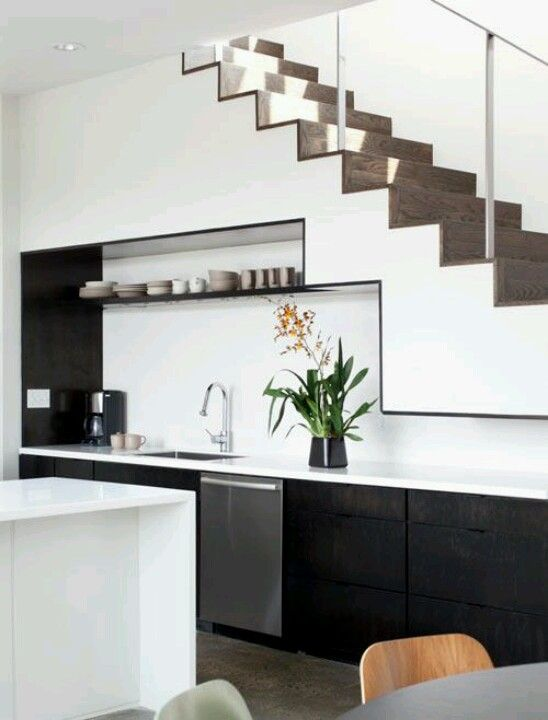 55 Amazing Space Saving Kitchens Under The Stairs Kitchen Under | Kitchen Under Stairs Design | Stair Case | Wet Bar | Basement Stairs | Living Room | Basement Kitchenette
