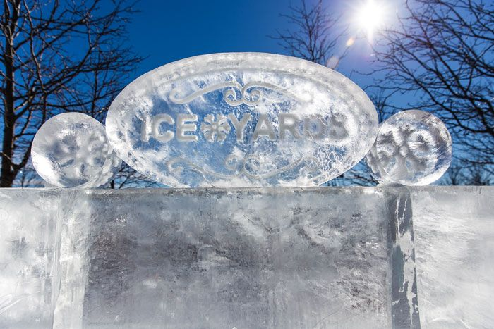 In an ice sculpture gallery from Ice Lab, the event's name appeared on a plaque made of ice.