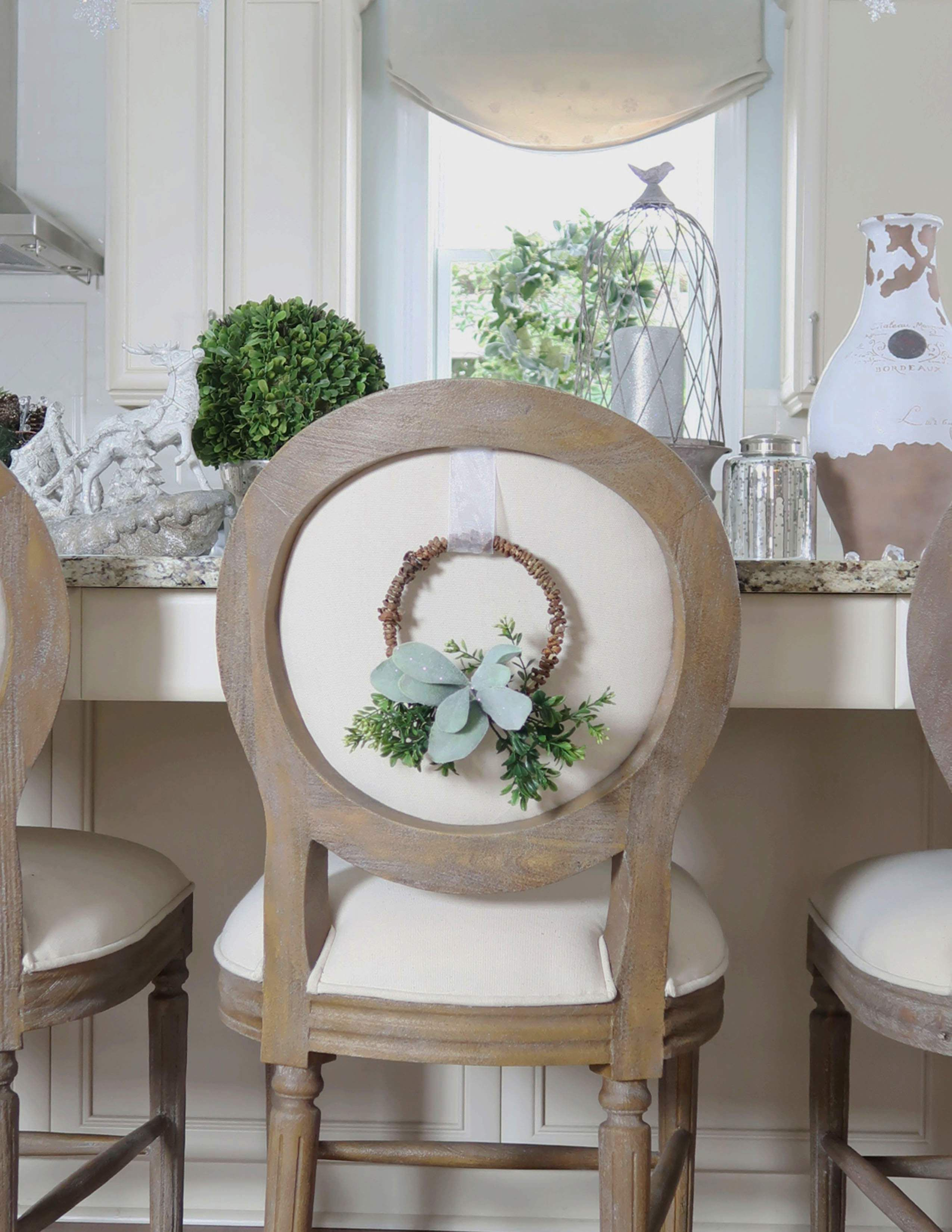 How To Make A Wreath For The Back Of A Chair Chair Backs Chair Decor