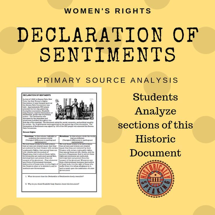 Women S Rights The Declaration Of Sentiments Declaration Of