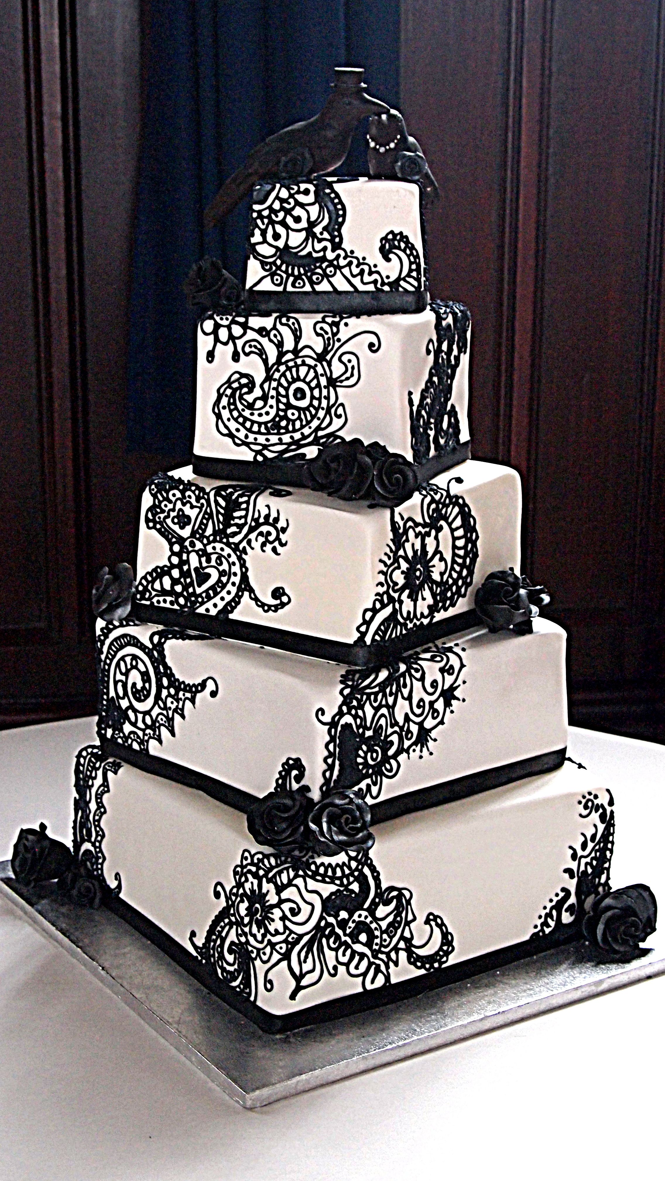 Black And White Henna Wedding Cake With Chocolate Crows And Rainbow
