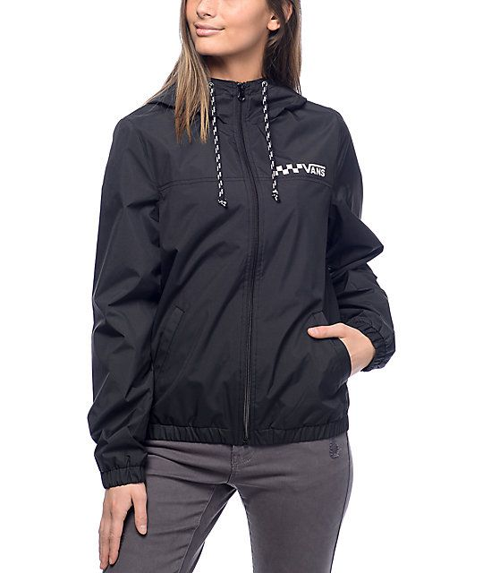 c4feff1f541 Get heavy duty protection from the elements with the lightweight styling of  the Kastle windbreaker jacket from Vans. This black design has a Vans logo  ...