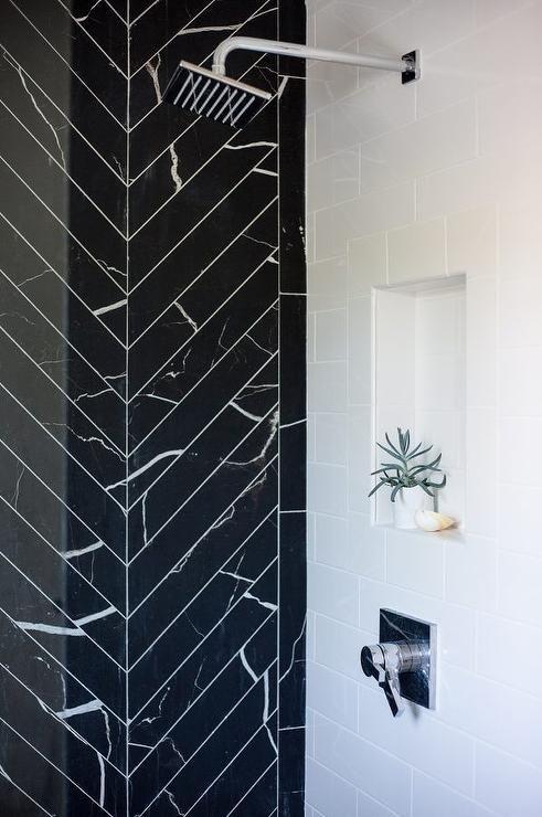 Glam Bathroom A Walk In Shower Boasting An Accent Wall