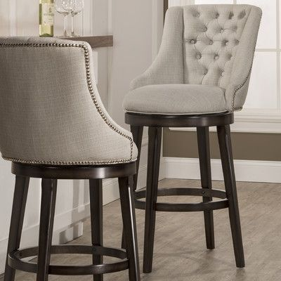 Features 360 degree swivel stool Armchair design Nailhead trim