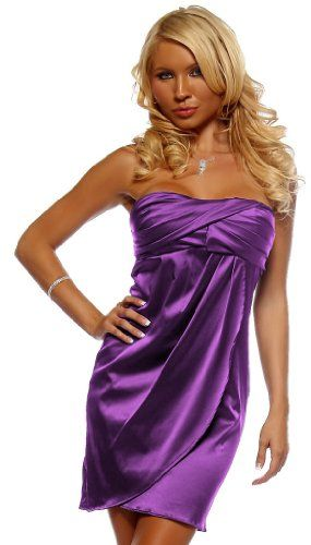 strapless satin mini dress