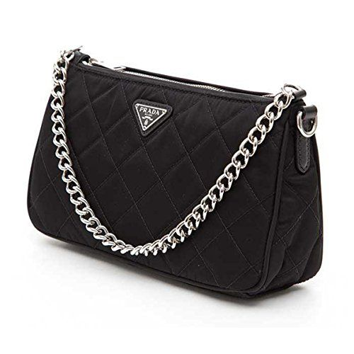daf4670eca5470 Prada Tessuto Impuntu Quilted Nylon Chain Handle Shoulder Bag - Black / Nero