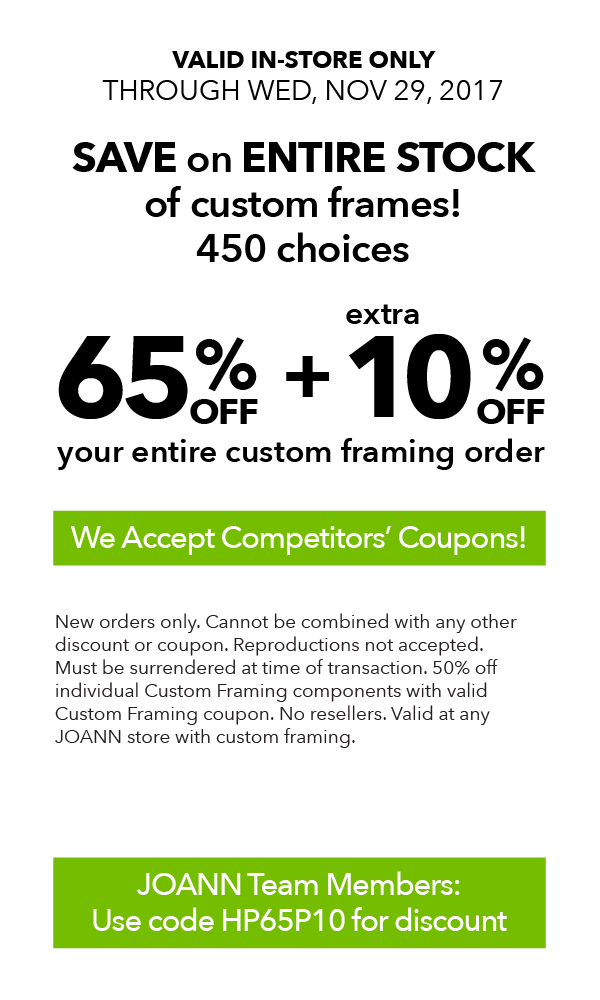 65% off plus extra 10% off your entire custom framing order. Apply ...