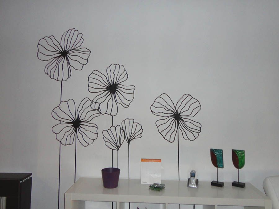 Mural flores pitnadas pintura de mural de flores flores - Pintura acrilica pared ...