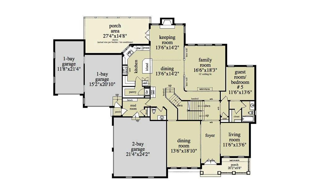 Large Images For House Plan 163 1034 Family House Plans House Plans Colonial House Plans