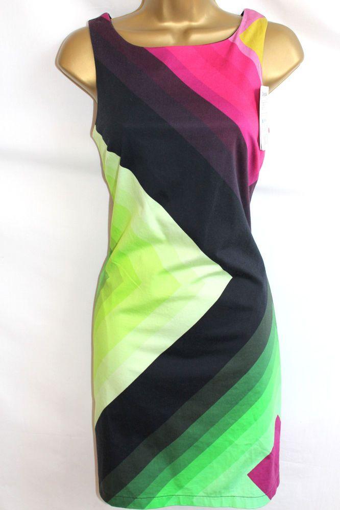 Desigual 46 US 14 Ston Dress Shift Shape Geometric Pink Black & Green 1960s