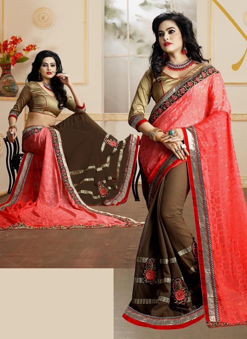 Observable Embroidered Work Brown Georgette Designer Saree