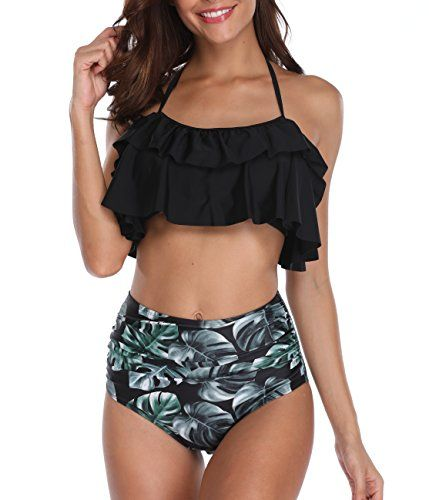 56cf8dcc51 Tempt Me Women 2 Piece Ruffle Halter Backless Bikini Crop with High Waisted  Palm Leaves Printed Bottom