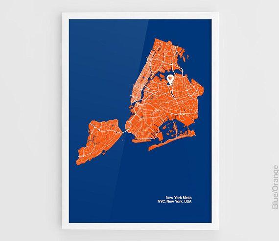 New York Mets Map Print Citi Field Stadium Mlb Poster A3 Posters Art Prints Map Wall Art Poster Prints