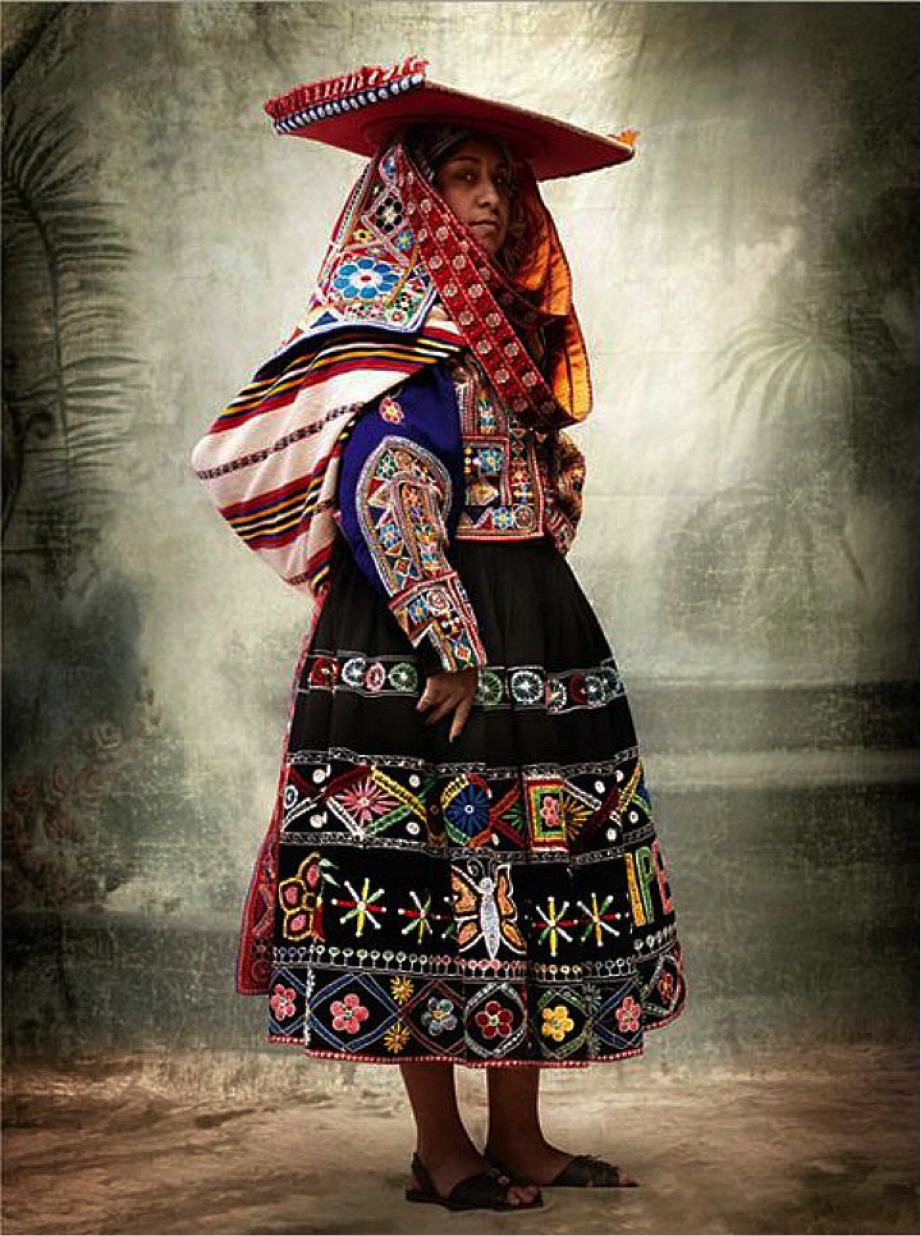 Mario Testino Peruvians wearing traditional costumes from the Cuzco region,  in front of a backdrop lent by the heirs …   Mario testino, Traditional  fashion, Fashion