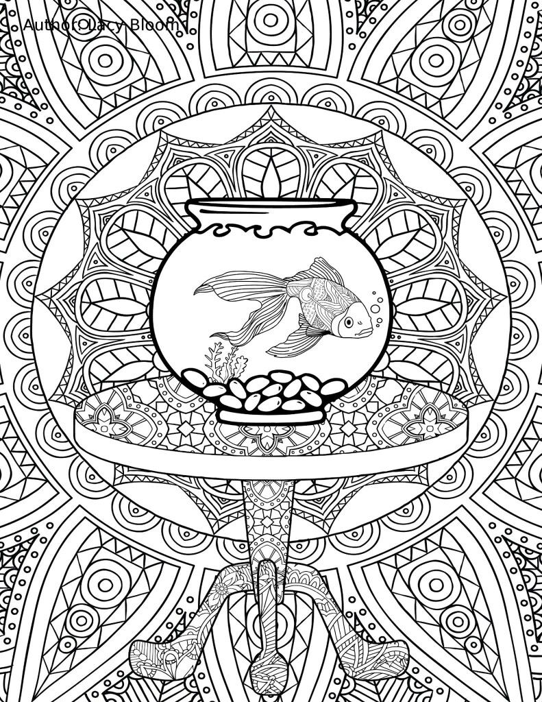fish bowl coloring page zentangles colouring