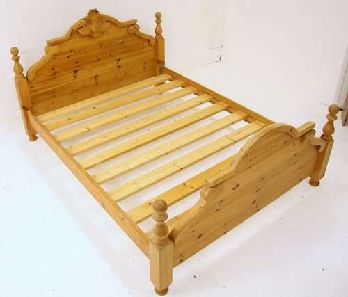 King Size Bed Solid Pine Carved Thistle On Headboard Ebay