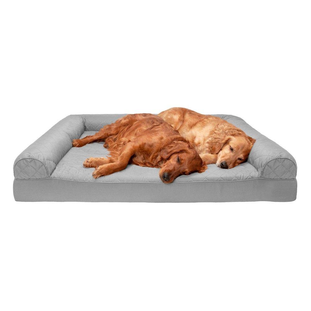 Furhaven 45601017 Jumbo Plus Quilted Orthopedic Foam Sofa Pet Bed Silver Gray Orthopedic Dog Bed Dog Sofa Bed Pet Sofa Bed
